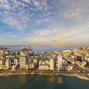 航拍-城市的一天